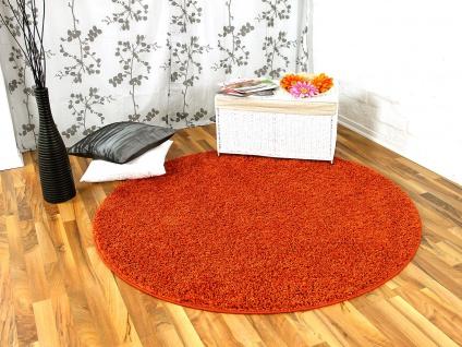 Hochflor Langflor Teppich Shaggy Nova Orange Rund in 7 Größen