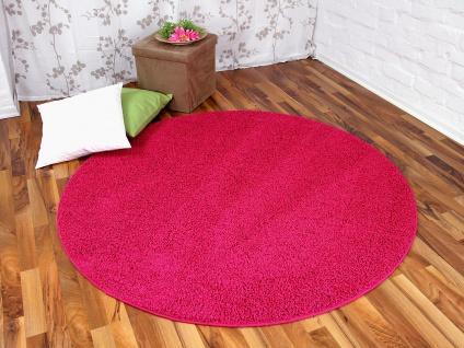 Hochflor Shaggy Teppich Prestige Pink Rund in 7 Größen
