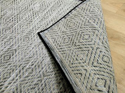 In- und Outdoor Teppich Beidseitig Flachgewebe Hampton Schwarz Karo Meliert
