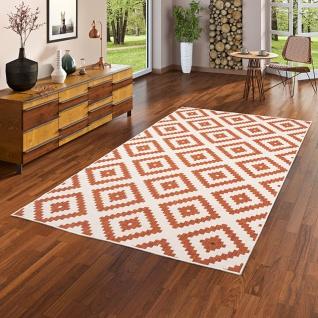 In- und Outdoor Teppich Beidseitig Flachgewebe Newport Terrakotta Modern Karo