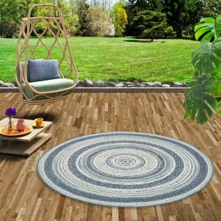 In- und Outdoor Teppich Flachgewebe Carpetto Blau Stripes Rund