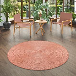 In- und Outdoor Teppich Beidseitig Flachgewebe Newport Stripes Terrakotta Rund