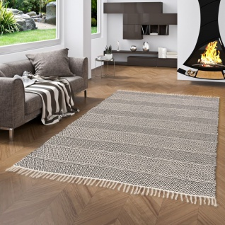 Baumwolle Natur Kelim Teppich Sandy Anthrazit Stripes
