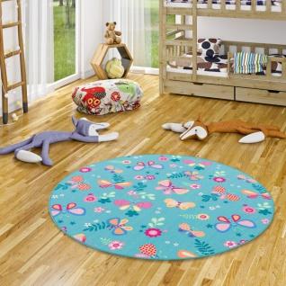 Kinder Spiel Teppich Schmetterling Türkis Rund