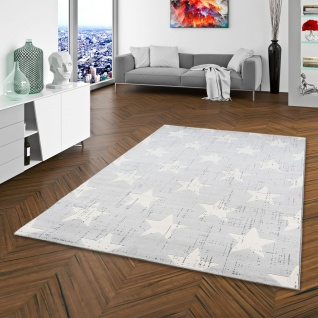 Soft-Touch Velours Designer Teppich Canvas Sterne Silbergrau