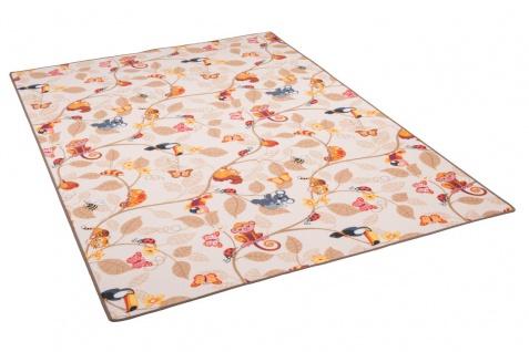 Kinder Spiel Teppich Velours Urwaldtiere Beige - Vorschau 2