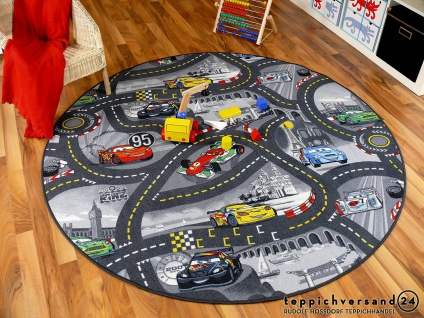 Kinder Spiel Teppich Walt Disney Cars Auto Grau Rund in 7 Größen