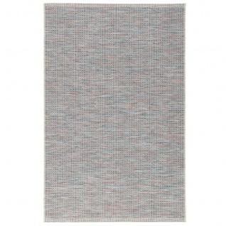 In- und Outdoor Teppich Flachgewebe Carmel Blau Bunt Karo - Vorschau 5