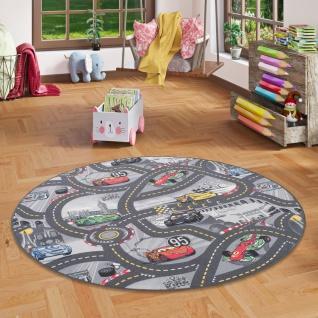 Kinder Spiel Teppich Walt Disney Cars Auto Grau Rund