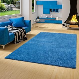 Hochflor Shaggy Teppich Palace Blau