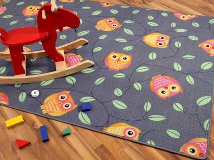 Kinder Spielteppich Eule Grau in 24 Größen