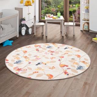 Kinder Spiel Teppich Velours Urwaldtiere Beige Rund