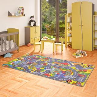 Kinder Spiel Teppich Little Town 3D Grau
