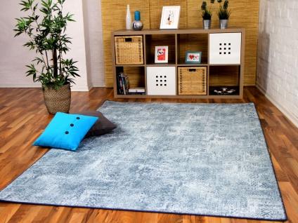 Designer Soft-Velours Teppich Vintage Eisblau