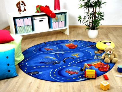 Kinder Spiel Teppich Walt Disney Cars Auto Blau Rund in 7 Größen