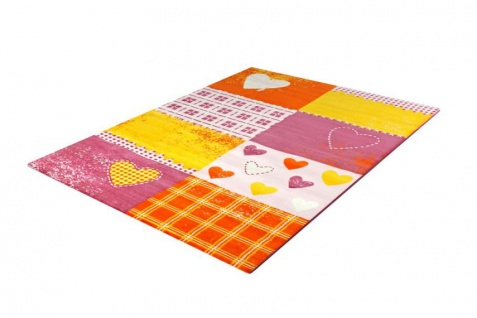 Kinder Teppich Bambino Patchwork Herzen Pink Gelb
