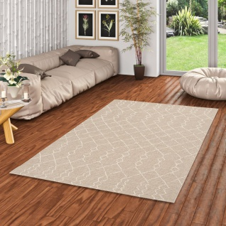 In & Outdoor Teppich Flachgewebe Natur Panama Grau Beige Modern