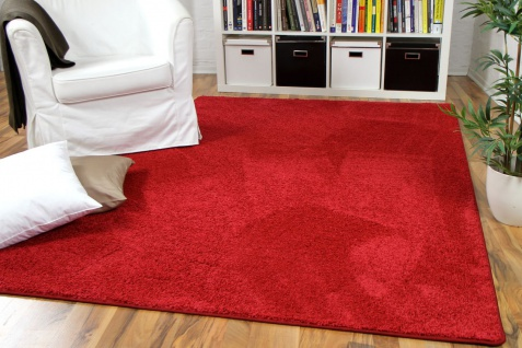 Hochflor Velours Teppich Mona Rot