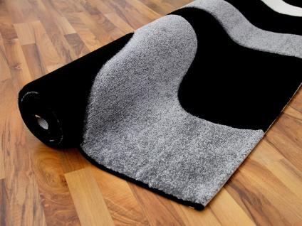 Designer Teppich Maui Schwarz Grau Wellen - Vorschau 4