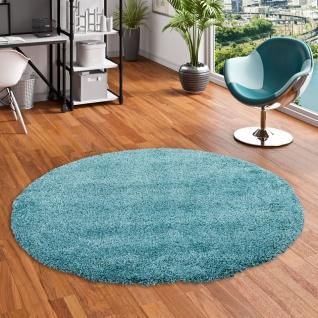 Hochflor Langflor Shaggy Teppich Luxury Türkis Blau Rund