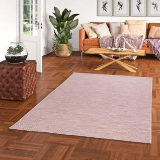 In- und Outdoor Teppich Flachgewebe Cape Cod Rosa Uni Mix