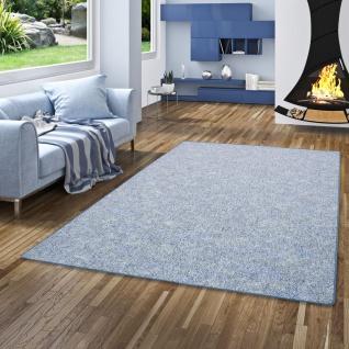 Schlingen Teppich Memory Blau Meliert in 24 Größen