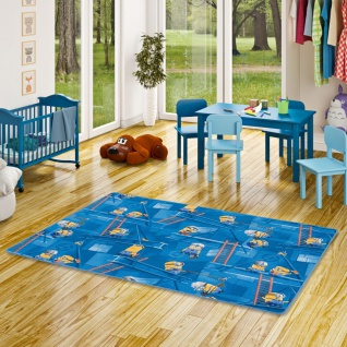 Kinder Spiel Teppich MINIONS Blau
