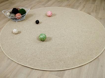 Natur Teppich Wolle Bentzon Flachgewebe Beige Rund