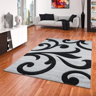 Designer Teppich Maui Grau Schwarz Ranken - Vorschau 1