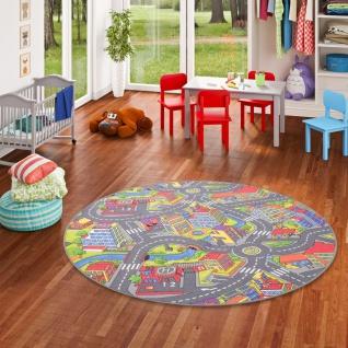 Kinder Spiel Teppich Straßenteppich 3D Big City Grau Rund