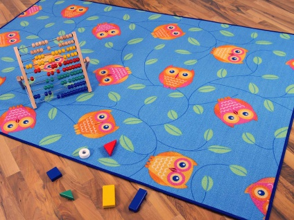 Kinder Spielteppich Eule Blau in 24 Größen