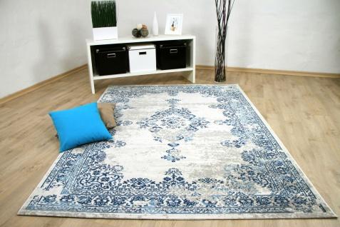 Designer Teppich Pop-Vintage Orient Blau Creme
