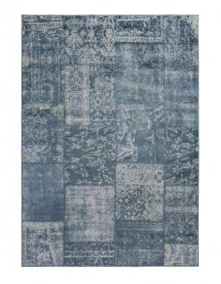 Orient Vintage Designer Teppich Famos Patchwork Dunkelblau