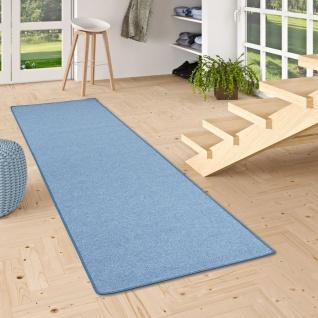 Feinschlingen Läufer Velour Teppich Strong Blau