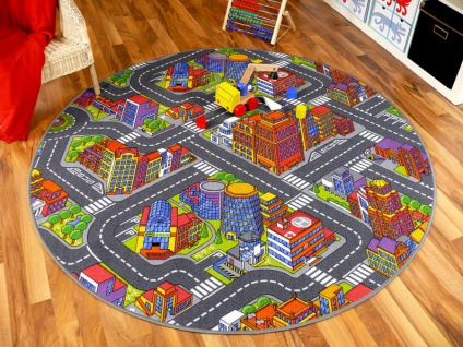 Kinder Spiel Teppich Straßenteppich 3D Big City Grau Rund in 7 Größen