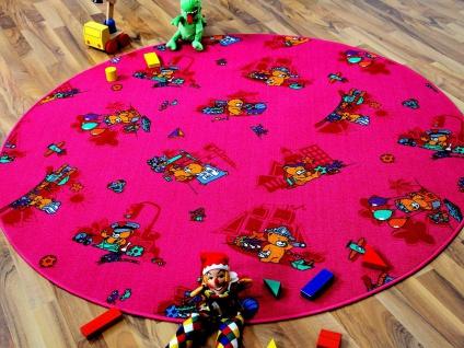 Kinder Spielteppich Bärenwelt Pink Rund in 7 Größen - Vorschau