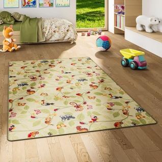 Kinder Spiel Teppich Velours Urwaldtiere Grün