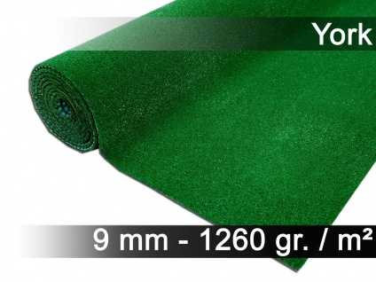 Kunstrasen Rasenteppich mit Noppen York Grün