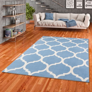 Soft-Touch Velours Designer Teppich Canvas Marokko Design Blau