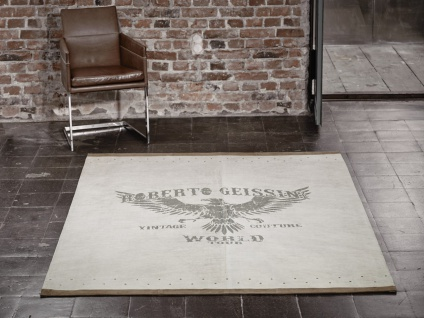 Designer Lederteppich Roberto Geissini Eagle Beige