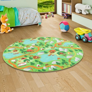 Kinder Spiel Teppich Campingplatz Grün Rund