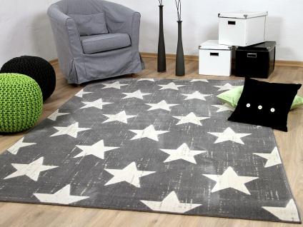 Soft-Touch Velours Designer Teppich Canvas Sterne Grau