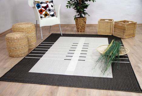 In- und Outdoor Teppich Flachgewebe Carpetto Bordüre Trend Anthrazit