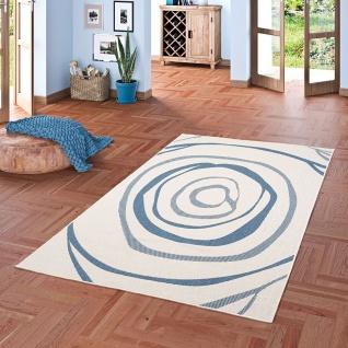 In- und Outdoor Teppich Beidseitig Flachgewebe Newport Blau Kreise