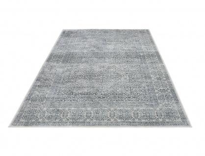 Orient Vintage Designer Teppich Famos Beige Blau Bordüre