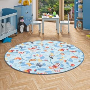 Kinder Spiel Teppich Velours Urwaldtiere Blau Rund