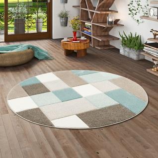 Designer Teppich Maui Pastell Blau Beige Karo Rund