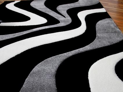 Designer Teppich Maui Schwarz Grau Wellen - Vorschau 3