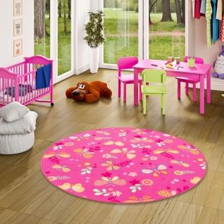 Kinder Spiel Teppich Schmetterling Pink Rund