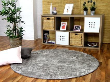 Designer Soft-Velours Teppich Vintage Grau Rund